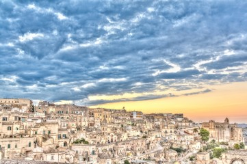 View of Matera, Italy, UNESCO at sunset