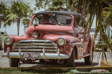 slassic retro, vintage car in Cuban tropical garden