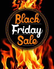 Black Friday Sale sticker on background with flames
