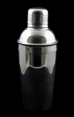 Cocktail shaker in metal against a black background
