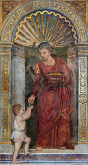 Padua - fresco of Love cardinal virute - hurch San Francesco