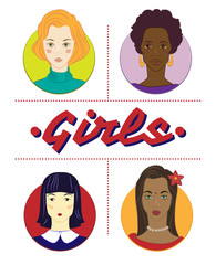 4 портрета девушек различных рас