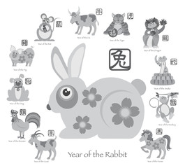 Chinese New Year Rabbit with Twelve Zodiacs Illustration