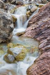 Alps beck under the Hochkonig peak in the calcite rock - Austria