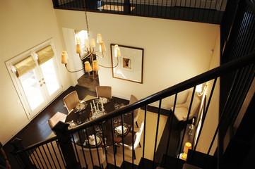 Staircase to dining room.