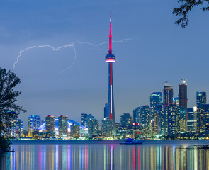 lightning over  Toronto Downtown Skyline