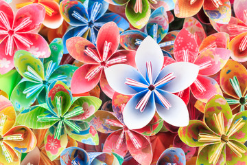 Colourful Kusudama flower pieces. Shallow depth of field.