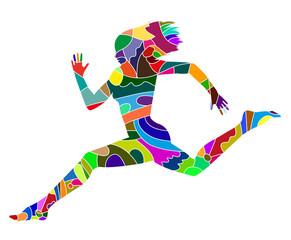 silhouette di donna che corre