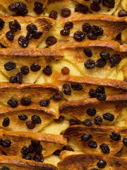 british bread and butter pudding food background