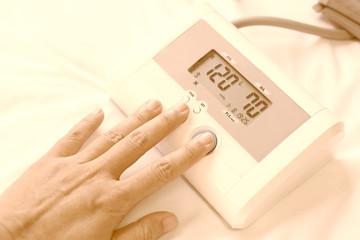 Normal blood pressure. doctor measures the pressure
