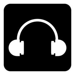 Headphones symbol button