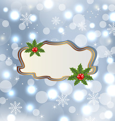 Template frame with mistletoe for design christmas card