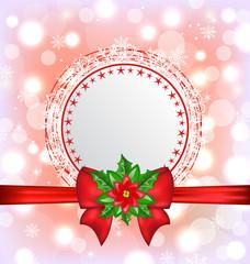 Christmas card with flower poinsettia