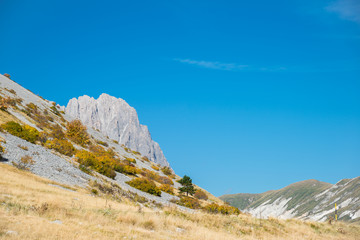 The Gran Sasso view from the plateau of Campo Imperatore, Italy