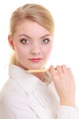 Portrait businesswoman with pen.
