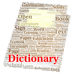 Dictionary word cloud concept