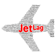 Jet lag word cloud concept