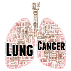 Lung cancer word cloud concept
