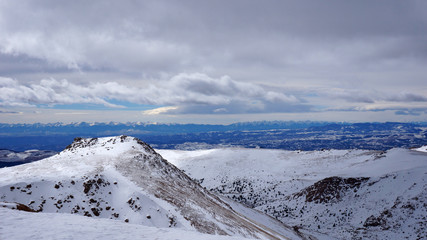 Scenery view of Pikes Peak national park, Colorado in the winter