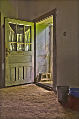 The open door of old village house form middle Slovakia