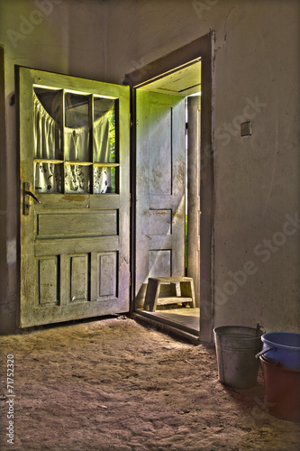 Fototapeta The open door of old village house form middle Slovakia