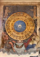 Padua -  clock and the zodiac  in church Santa Maria dei Servi