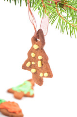 Gingerbread cookie on christmas tree