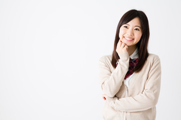 young asian woman on white background