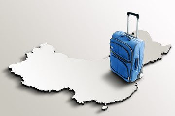 Travel to Chad. Blue suitcase on 3d map of the country