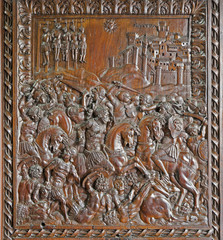 Madrid - Wooden relief from indoor gate of Capilla del Obispo