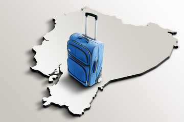 Travel to Ecuador. Blue suitcase on 3d map of the country