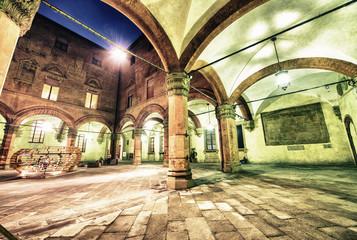 Cityscape of Bologna at night, Italy