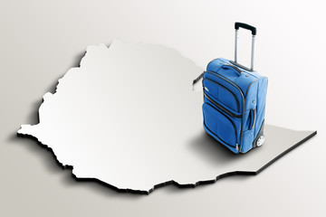 Travel to Ethiopia. Blue suitcase on 3d map of the country