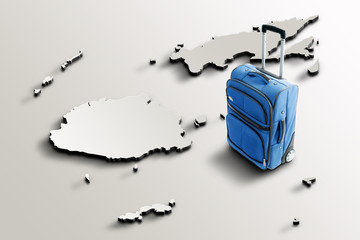 Travel to Fiji. Blue suitcase on 3d map of the country