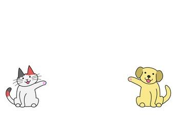 犬と猫、コピースペース