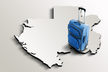 Travel to Gabon. Blue suitcase on 3d map of the country
