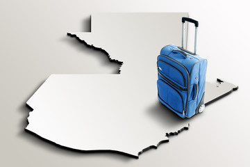 Travel to Guatemala. Blue suitcase on 3d map of the country