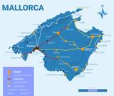 Landkarte: Mallorca | Vector mit Legende Blau - IV / IV