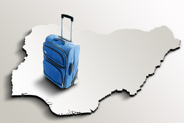 Travel to Nigeria. Blue suitcase on 3d map of the country