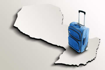 Travel to Paraguay. Blue suitcase on 3d map of the country