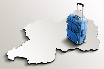 Travel to Rwanda. Blue suitcase on 3d map of the country