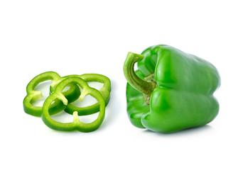 Green pepper on white background
