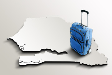 Travel to Senegal. Blue suitcase on 3d map of the country