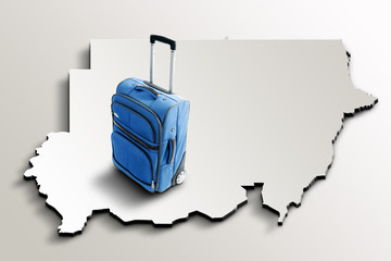 Travel to Sudan. Blue suitcase on 3d map of the country