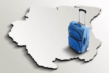 Travel to Suriname. Blue suitcase on 3d map of the country