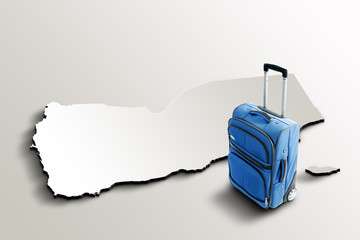 Travel to Yemen. Blue suitcase on 3d map of the country