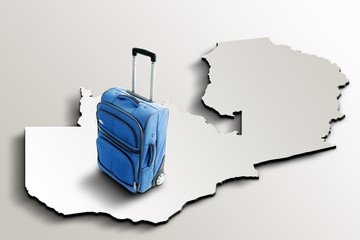 Travel to Zambia. Blue suitcase on 3d map of the country