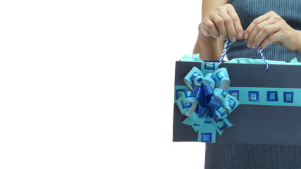 Woman Blue Gift Bag Copyspace