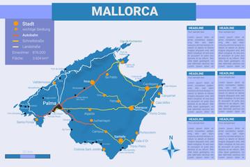Landkarte: Mallorca - inkl. Infofeld & Legende Blau - IV / IV