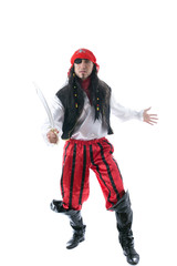 Adult man dressed as pirate, isolated on white